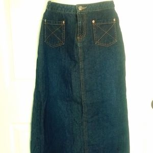 Womens Long Old Navy Blue Jeans Skirt 2